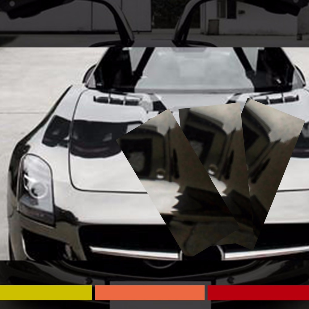 Стайлинга автомобилей 127см х 8см кузовщине хром черный Оберточный наклейка пузырь Бесплатная виниловая пленка лист топливного бака наклейка
