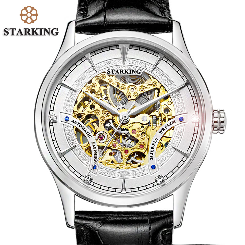 STARKING Men Skeleton Automatic Mechanical Luxury Brand Sapphire Two-tone Gold Case Genuine Leather Strap Wristwatch Male Clock часы dkny ny2289 two tone gold