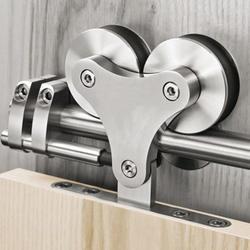 """DIYHD 5FT-16FT Top Mount Solid Double Head Roller Barn дверной комплект из нержавеющей стали 16 """"раздельные отверстия раздвижные двери сарая трек"""