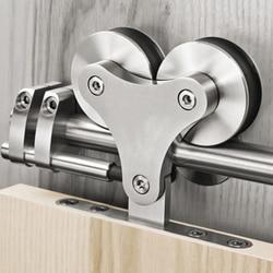 DIYHD 5FT-16FT Solid Head Twin Roller Sliding Barn Door Hardware Stainless Steel Top Mount Barn Door Track