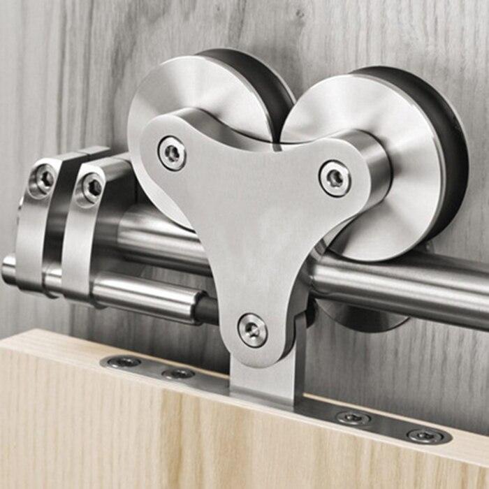 DIYHD 5FT-16FT Top Mount Solid Double Head Roller Barn Door Kit Stainless Steel 16