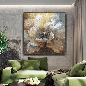 Image 5 - لوحة زيتية تجريدية مرسومة يدويًا لعام 100% على قماش كتان لتزيين صور بدون إطار لغرفة المعيشة هدايا ديكور منزلي