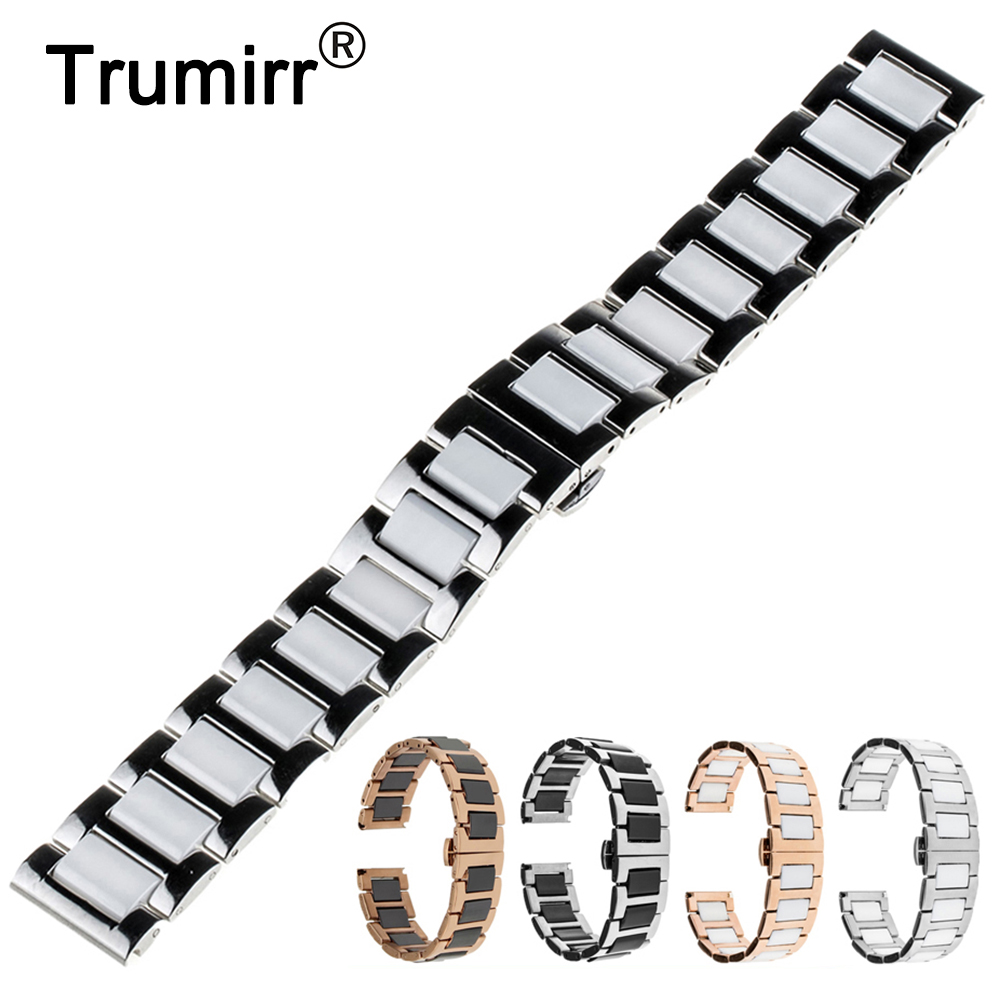 18mm 20mm 22mm Ceramic Watch Band for Seiko Butterfly Buckle Wactchband Replacement Strap Wrist Belt Bracelet Black Gold White 16mm ceramic watch band for huawei talkband b3 women s butterfly buckle strap wrist belt bracelet black white tool spirng bar