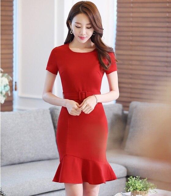5c3397c45 Uniforme Formal estilos rojo elegante Delgado moda verano de 2016 Vestidos  casuales Vestidos de vestido de