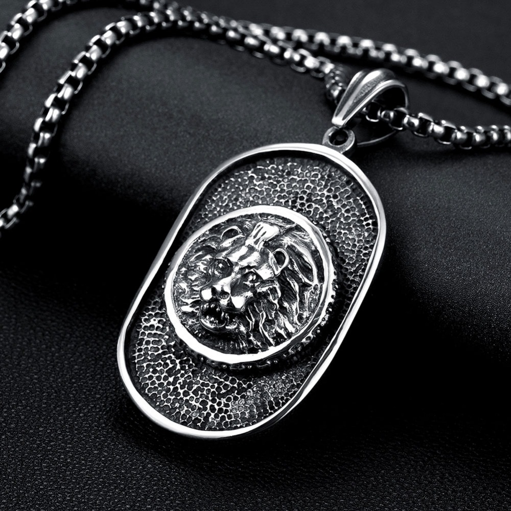 Brand Titanium Lion Head dog tag Man Pendant Necklaces Punk Style Stainless Steel Personality Men Jewelry Necklace Biker Colars
