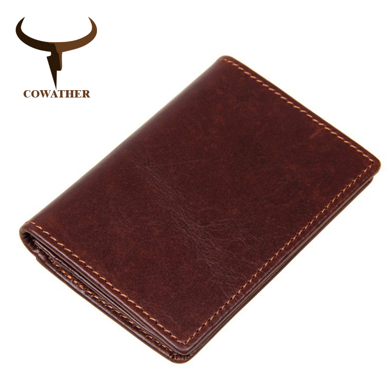 COWATHER high quality top cow genuine leather card holder for men new arrival fashion mens card wallet luxury 8078 free shipping