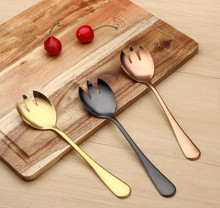 Stainless steel fruit salad spoon salad fork 3 colors Fashion tableware Thickening fork spoon