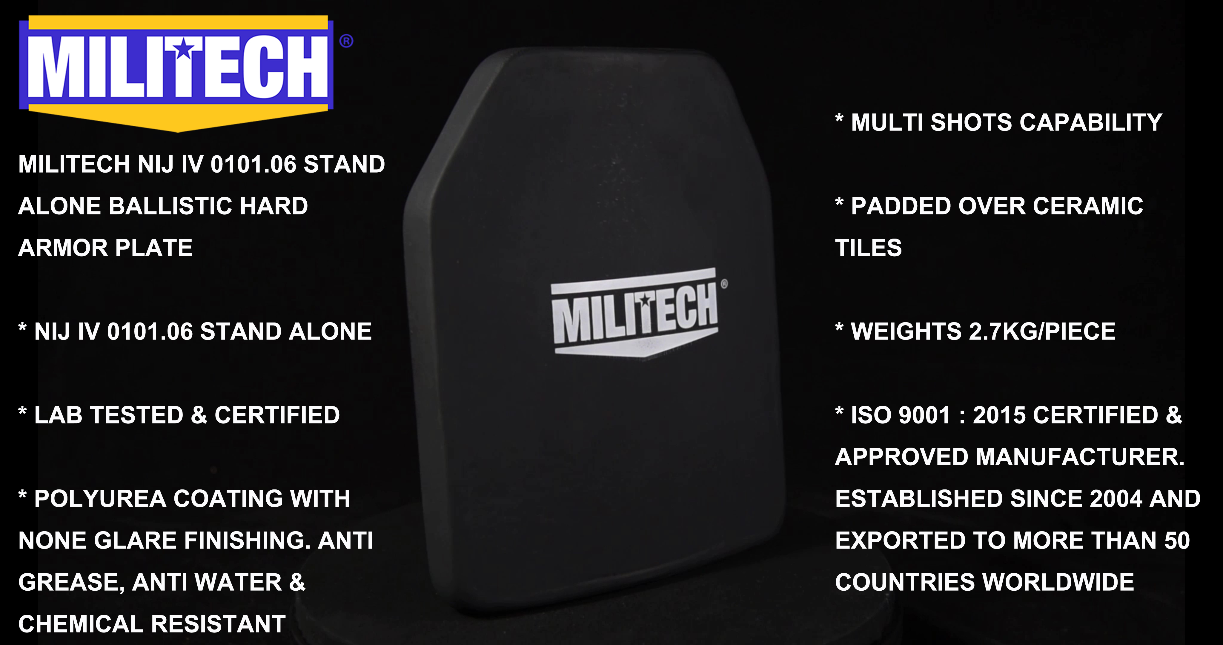 Commercial Video--MILITECH 10x12 Shooters Cut Hard Ballistic Panel NIJ IV 0101.06 Hard Armor Bulletproof Panel Commercial