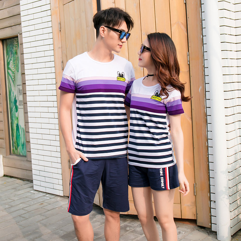 ccebaf3dbed7 Family Matching Clothing Summer 2018 New Korean Short Sleeve Cotton Striped T  Shirt + Shorts 2 Pcs Family Sports Suit-in Matching Family Outfits from  Mother ...