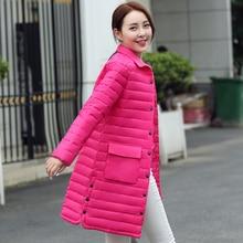 New! мода Зима Женщины Вниз хлопок Длинное Пальто Лацкан Вниз Куртка Женская Куртка