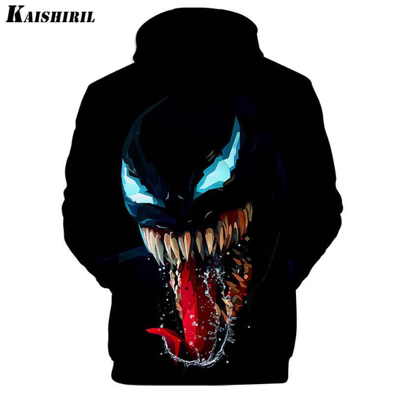Comic Venom Hoodie Sweatshirts Männer Superheld Anime Kühlen Schwarz Herbst Winter Tops Plus Samt Warme Hoody Paar Hip Hop Pullover