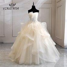 תמונה אמיתית אפליקציות פרל בציר שמפניה שחור כחול חתונה שמלות 2020 Vestidos דה Noivas בתוספת גודל סטרפלס כלה שמלות