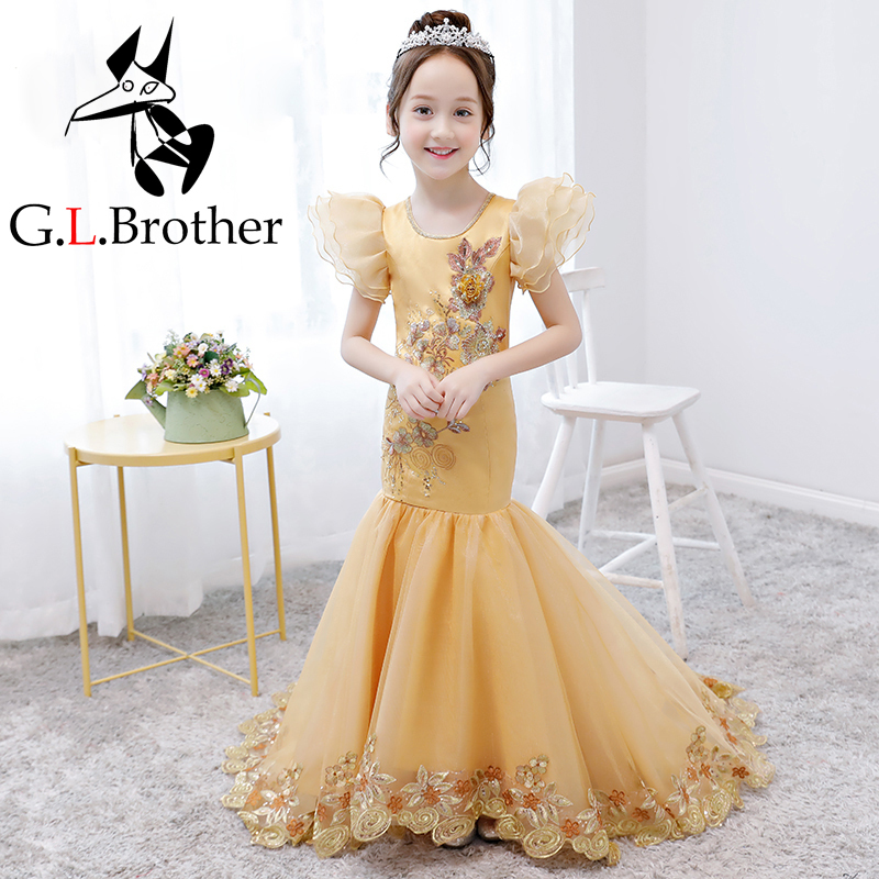 Luxury Gold Birthday Gown Girls Formal Mermaid Dress Long Tailing Appliques Flower Girl Dresses Puff Sleeve Tutu Princess Dress puff sleeve peplum top