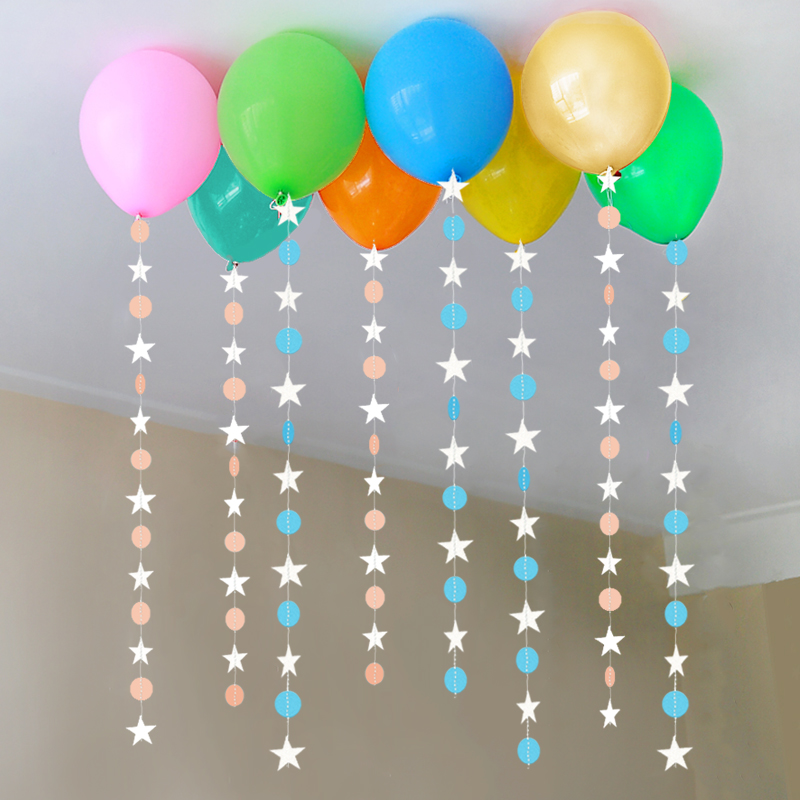 HAOCHU 5pcs/lot 4m Pink Blue Star Flag DIY Wedding Party Garland Decor Paper Banner Home Bedroom Marriage Room Outside Decor