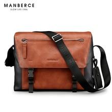 MANBERCE Brand Handbag Men Shoulder Bags Fashion Tote Laptop Bag Leather Briefcase Men's Messenger Bag Free Shipping