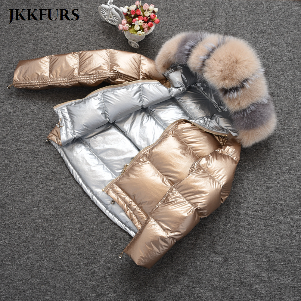 2019 Fashion Women's Coats Real Fox Fur Collar Winter Thick Warm Fur Double Face Reversible White Down Duck Top Quality S7482