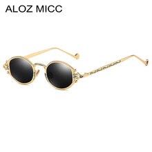 ALOZ MICC Round Women Steampunk Sunglasses Men 2019 Classic Small Oval Vintage Punk Unisex Goggles UV400 Q327