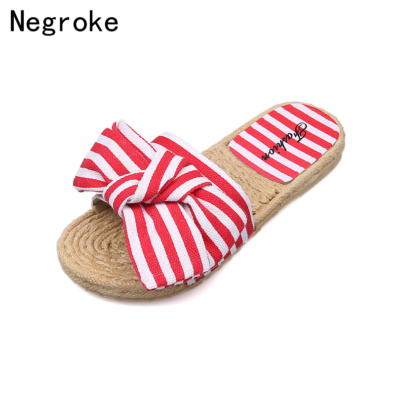 Summer Casual Outside Slippers Women Slides 2018 Fashion Colorful Stripes Beach Flat Bow Sandals Ladies Shoes Woman Flip Flops 2016 summer patent leather buckle slides for women fashion stone upper flat platform ladies casual beach slippers sandals shoes