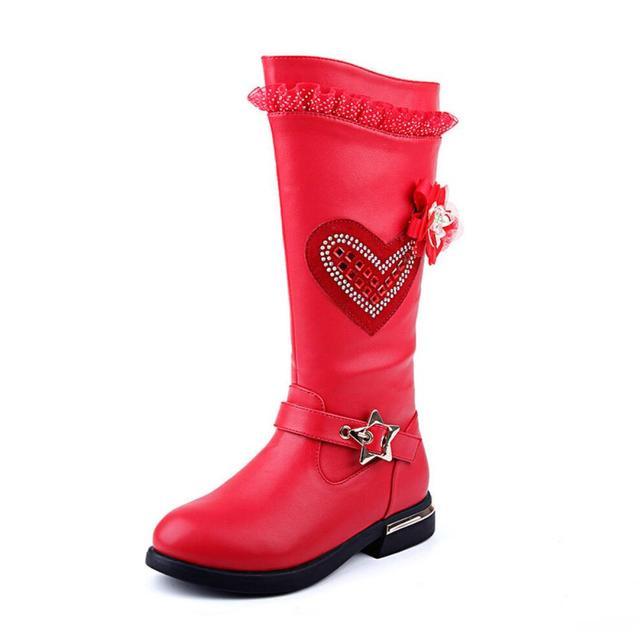 De Los nuevos Niños Botas de Invierno 2016 de Encaje de Flores Niños de Invierno Botas de Nieve Redondo High Top Botas de Cuero para Las Muchachas Childern zapatos