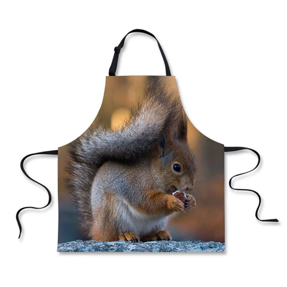 Luggage & Bags High Quality Cute Animal Squirrels Pattern Printing Home Leisure Fashion Kitchen Aprons