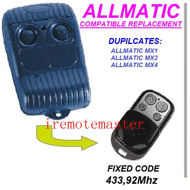 Top quality ! For ALLMATIC AEMX1, AEMX2, AEMX4 replacement remote control/garage door opener/transmitter Fixed code 433.92MHZ high quality and favorable price for ecp garage door replacement remote
