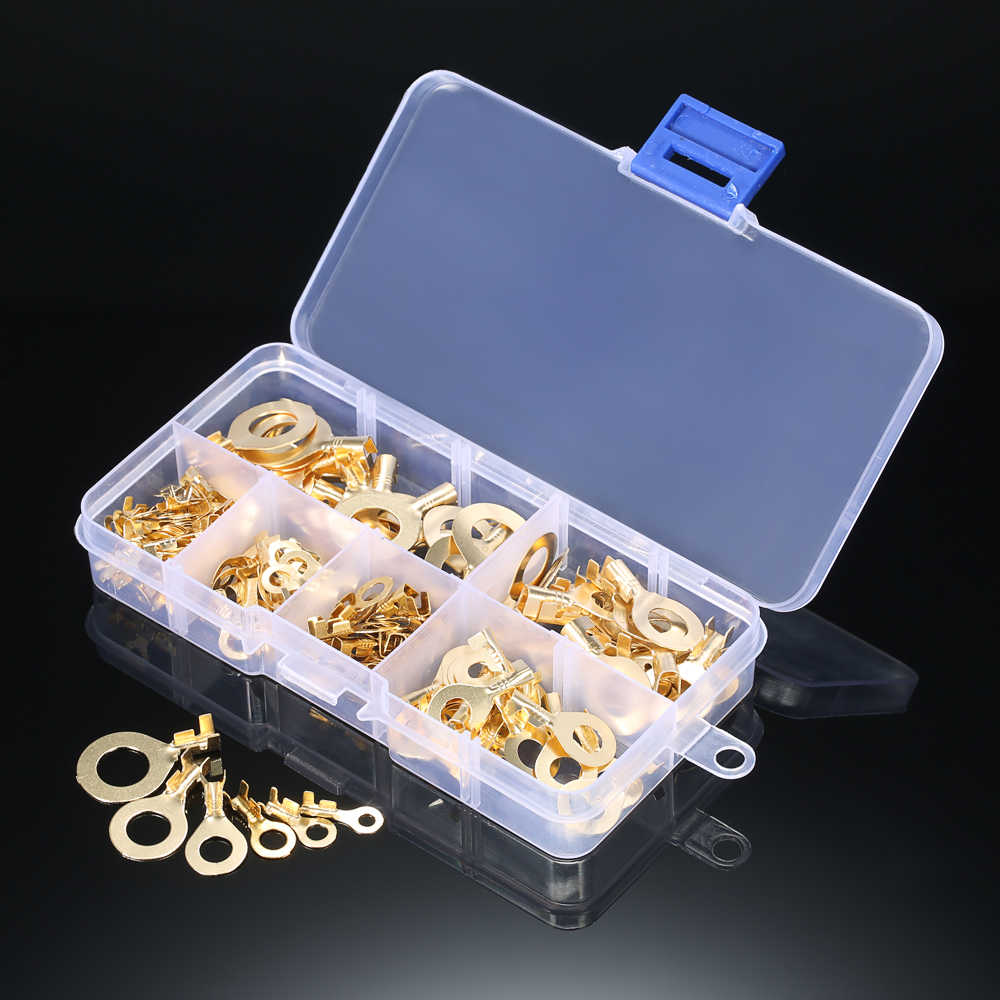 Assorted 150pcs terminator Brass Ring Cable ferrules Copper Crimp Cable wire connector terminal Wire nut M3 M4 M5 M6 M8 M10 kit
