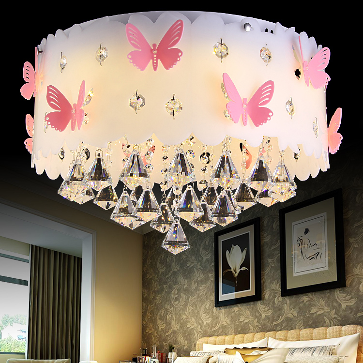 Round Bedroom Ceiling Lamp Girl Princess Warm Romantic Creative Wedding Room Lamps And Ceiling Lights LO7217