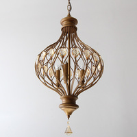 Amerykański styl kryształ retro żelaza restauracja przejściach i korytarzach lampa domowa Nordic proste wsi sypialni latarnia wisiorek światła LO7303 w Wiszące lampki od Lampy i oświetlenie na