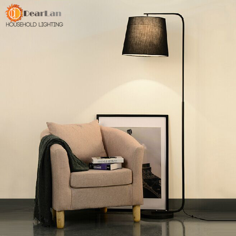 Modern brief fork fabric floor lamp modern brief bedroom for Modern living room lamps