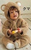 1 комплект, классический детский комбинезон с накидкой для зимы, комбинезон с длинными рукавами, детская одежда, комбинезон для малышей, одежда с рисунком медведя, кролика, поросенка, 3 цвета - Цвет: brown bear