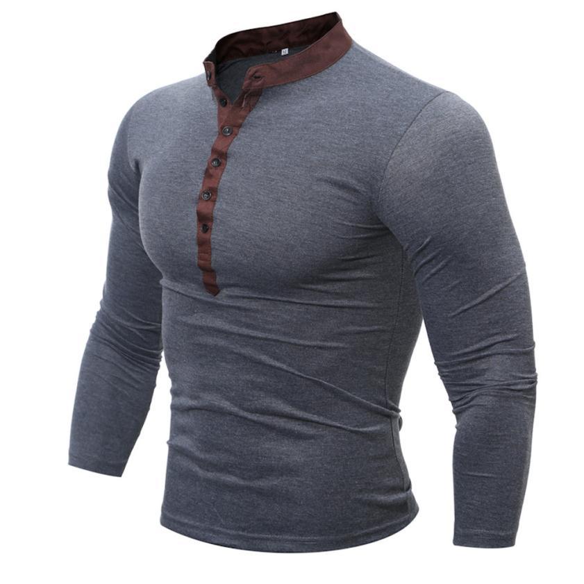 2018 neueste herren Langarm täglichen Feste Beiläufige top Männer Frühling Herbst Baumwolle T Shirt Männer Einfarbig T-shirt langarm Top # VA