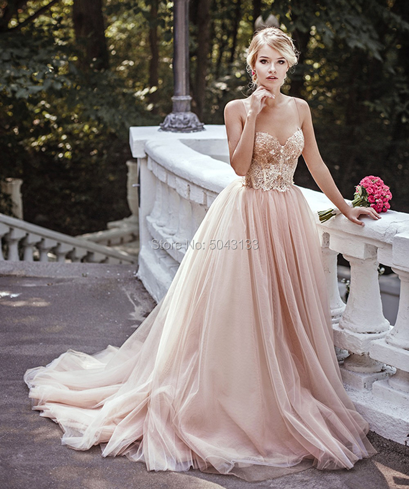 Wedding-Dresses Corset Blush Spaghetti-Straps Bridal-Gowns Court-Train Sequin A-Line