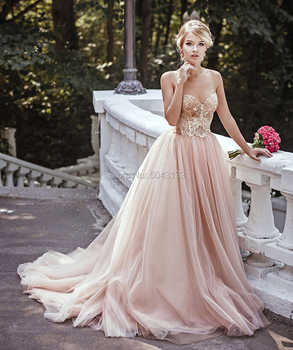 Fascinating Blush Tulle Wedding Dresses 2020 Sequins Spaghetti Straps Sleeveless Bridal Gowns Off Shoulder Corset Back Vestidos - DISCOUNT ITEM  28% OFF All Category