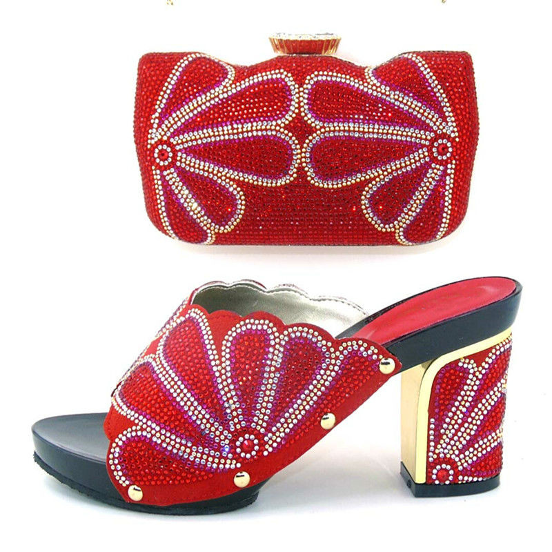 ФОТО New Arrival red 37-43 African Wedding Shoe and Bag Sets Women Shoes and Bag To Match for Parties Matching Shoes and Bags Italy