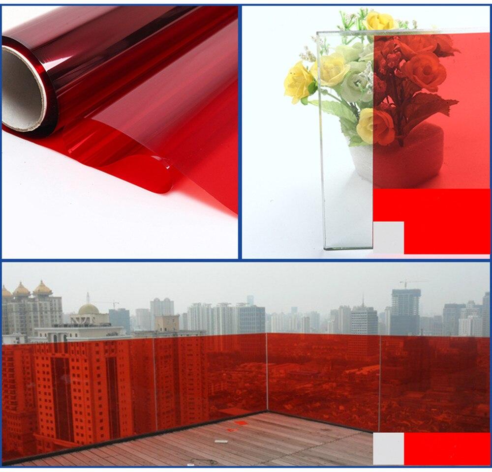 50 cm large Rouge verre PET film fenêtre film Collé verre architectural décoratif film Partie Hôtel Restaurant Décor