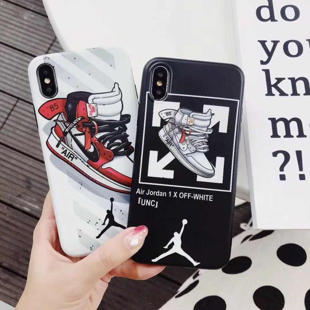 3b88272e3a90 New sports brand flying man Jordan shoes AIR ow white silicone soft cover  case for iphone
