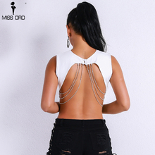 Missord 2018 Women Sexy  O Neck  Sleeveless Chains Backless Top Women Casual Solid Color  Short  Top FT9145
