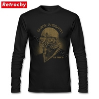 Custom Black Sabbath Couple Long Sleeves Round Neck Organic Cotton Tee Tops Mens Cool Fathers Day