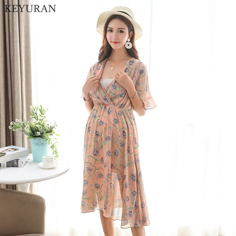 Summer Boho Fashion Maternity Dress V Neck Floral Printed Chiffon Nursing Clothes for Pregnant Women Pregnancy Beach Y133