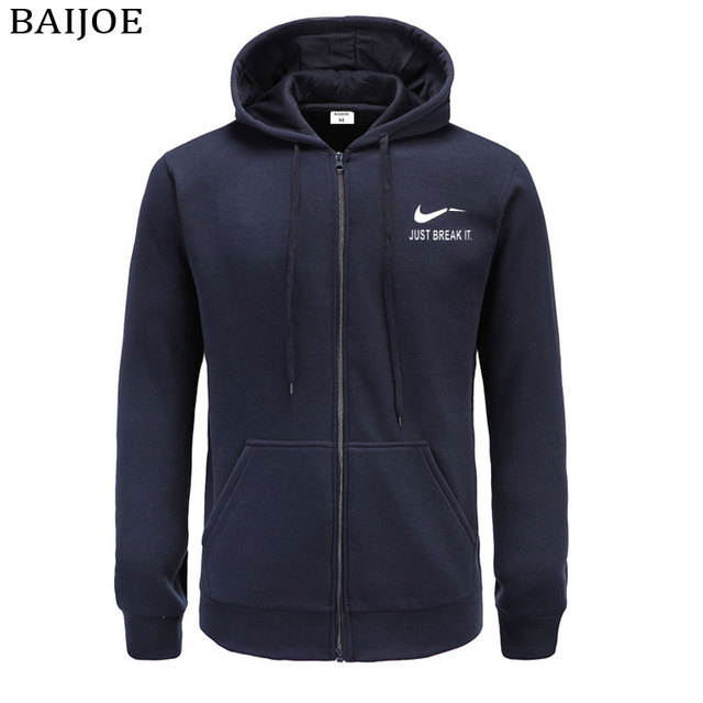 2017 Fashion Men's Hoodies JUST BREAK IT print Hoodies Sweatshirt Men Hip Hop Fleece high quality balck Hoody slim Sportswear