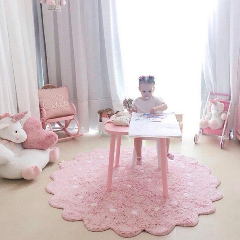120 см INS хлопок белый волновой точки коврики s детские коврики для игр ребенка ползать детская комната ковры напольные коврики украшения дом...