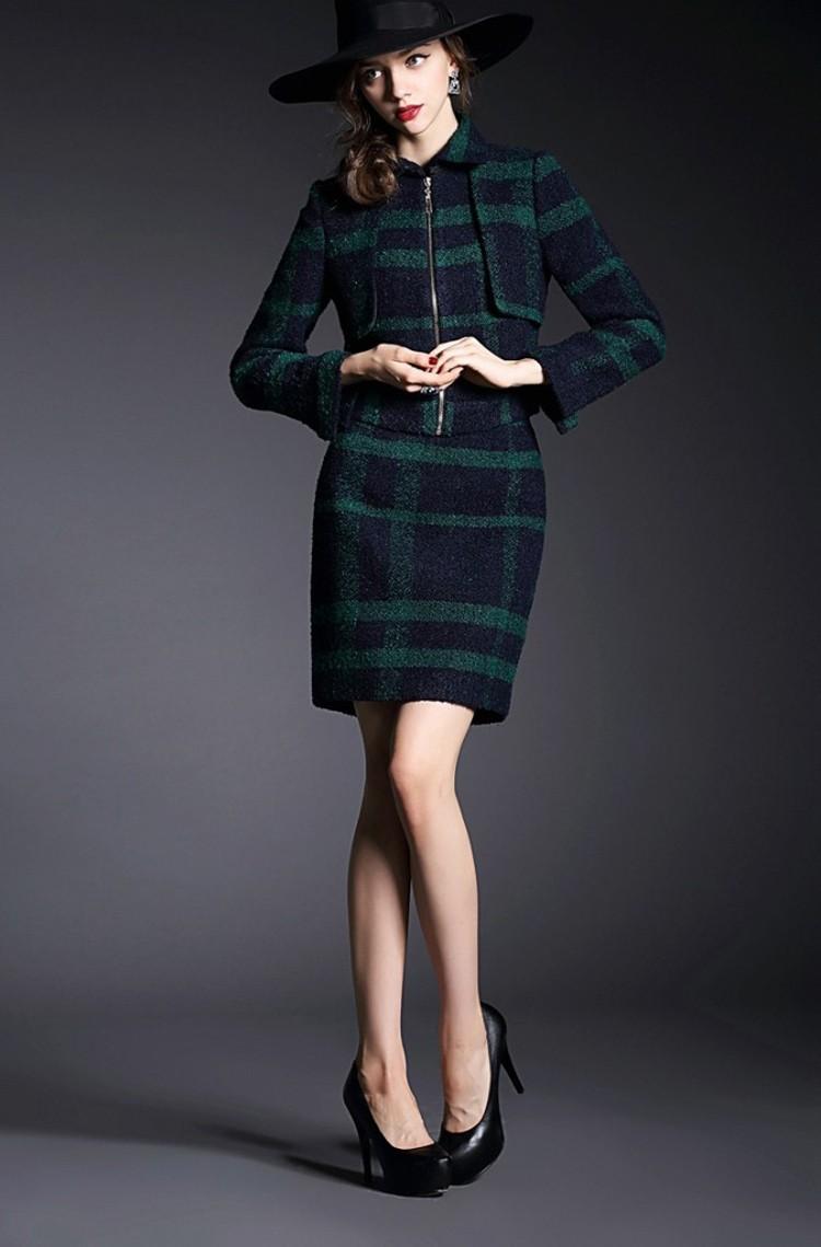 Runway Style High Grade Grid Pattern Woolen Green Skirt Suits Autumn Winter 2015 (18)