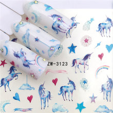 ZKO 1 PC Nail Stickers Water Decal Horse/Star/love Plant Pattern 3D Manicure Sticker Nail Art Decoration(China)