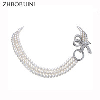 ZHBORUINI 2017 Pearl Necklace Natural Freshwater Pearl Jewelry Choker Necklace Women Statement Necklace Jewelry For Women Gift