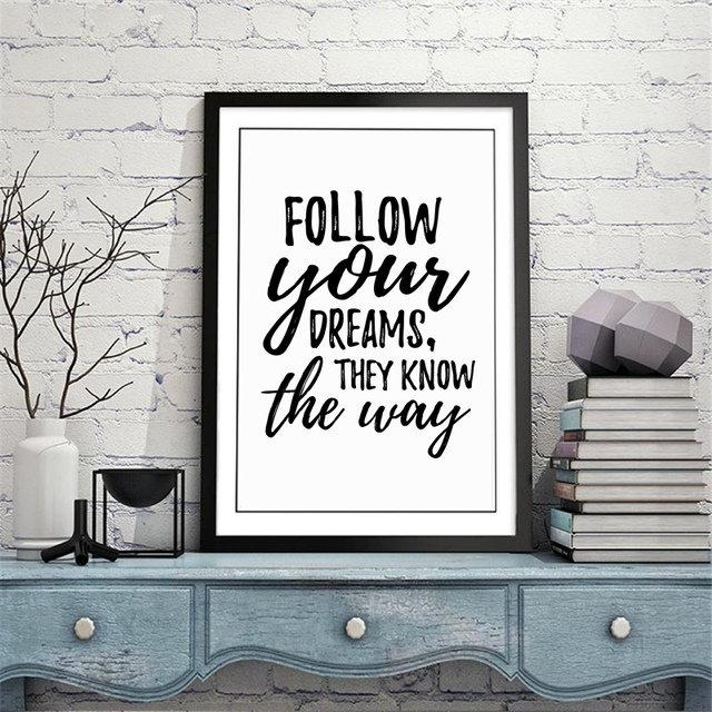 abc71825b1 Follow Your Dreams Art Print Poster Wall Pictures
