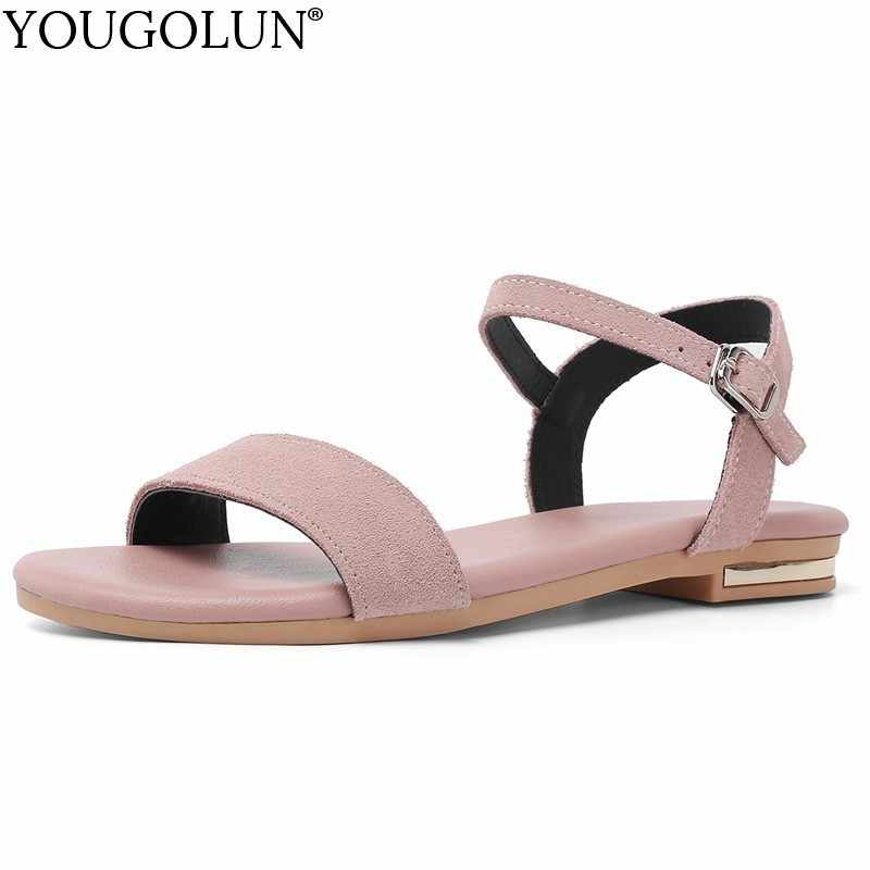 Cow Suede Flat Sandals Women Summer Ladies New Genuine Leather Flat Sandal A245 Casual Woman Pink Black Buckle Comfortable Shoes