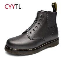 CYYTL Высокое качество для мужчин мотоботы кожаные сапоги зимние теплые рабочая обувь мужской молния Спортивная Erkek Bot мягкие botas hombre