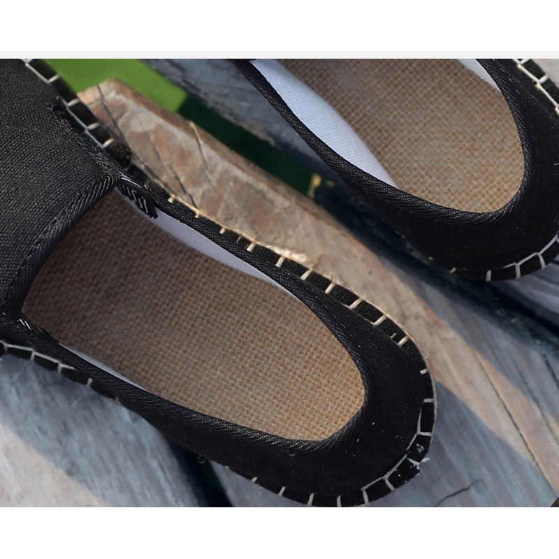 OUDINIAO القنب التفاف لينة المطاط وحيد أحذية رجالي مظلة رياضة قماشية الرجال 2019 حذاء قماش الرجال تنفس الرجال المتسكعون الانزلاق على
