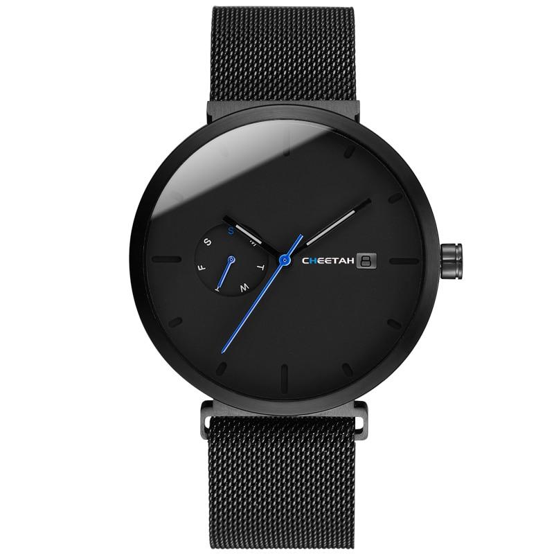 Nouvelle montre pour homme quartz pour mode décontractée Montres Étanche Bleu Point Simple Hommes Montre-Bracelet Mâle Date Semaine Horloge Relogio Masculino - 6
