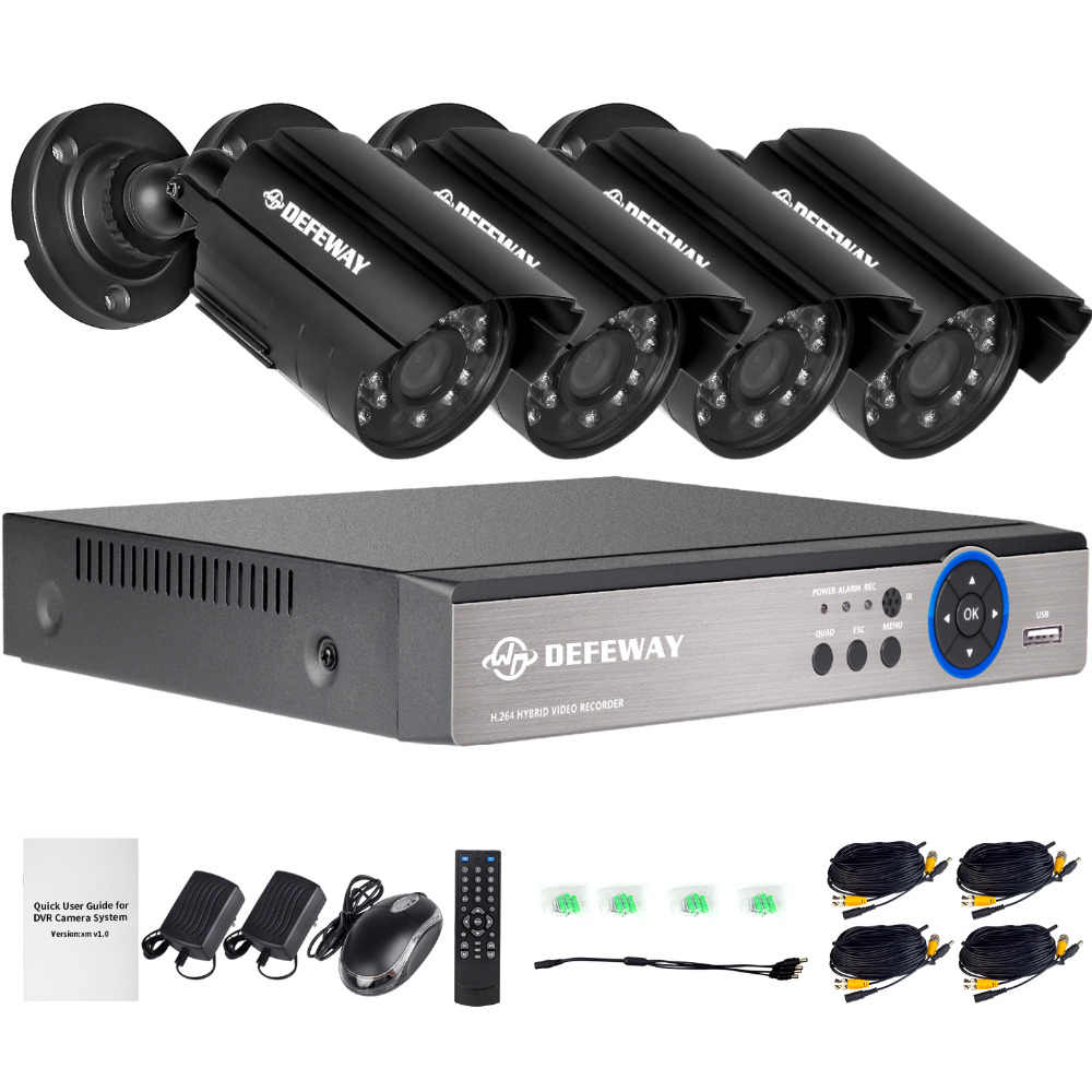 DEFEWAY 1080N HDMI DVR 1200TVL 720 P HD Outdoor Home Security Camera Systeem 4CH CCTV Video Surveillance DVR Kit AHD Camera Set